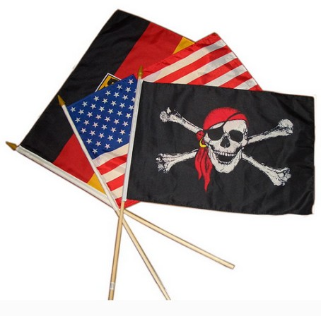 Polyester Mini Hand Flags With Wooden Sticks