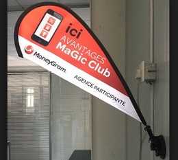 Shop promotion polyester teardrop wall flags with bracket